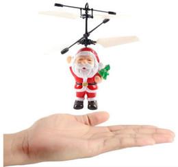 flash led infrarrojo Rebajas Sensor infrarrojo eléctrico Flying Santa Claus LED luz intermitente juguetes padre Navidad helicóptero inductivo avión niños mágico regalo de Navidad