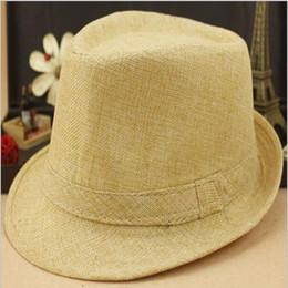 Wholesale Hip Bucket - 8 Color Hemp Cotton Formal Hats Men Dance Hip Hop Jazz Bucket Fedoras party Hat Cap