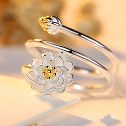 Wholesale Japan Copper - Lotus flower ring Silver ring women hipster personality contracted lotus ring opening, Japan and creative silver ornament