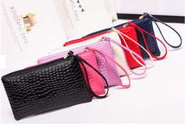 Wholesale Wholesale Ladies Leather Hand Bags - New Fashion Candy Color Lady Crocodile Pattern Cellphone Wallet PU Leather Clutch Bags Women Coin Purse Shopping Hand Bags