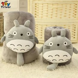 chat de napping Promotion Vente en gros- Triver Cartoon Totoro Chat Toison en corne Air-condition Sofa Office Nap TV Travel Portable Blanket Toy Doll Multifunctional Carpet