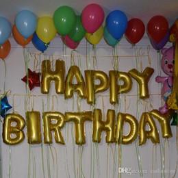Gold Alphabet Letters Balloons Happy Birthday Party Decoration Foil Ballon E00564 SMAD
