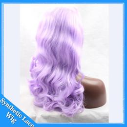 alta luce di calore Sconti 2017 parrucca anteriore viola pizzo viola chiaro di alta qualità resistente al calore Glueless parrucche sintetiche anteriori del merletto dell'onda del corpo per le donne nere