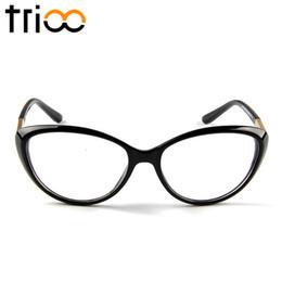 Wholesale Chic Frames - Wholesale- TRIOO Fashion Acetate Black Eyewear Frames Chic Cat Eye Optical Glasses Women High Quality Clear Spectacle Frame Eyeglasses