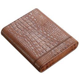 Wholesale Cedar Cigar Case - COHIBA High-end Gadget Excellent Leather Solid Wood Portable Cigar Case Holder Travel 5 Lined Cedar Wood Tube W  Siphon Pipe
