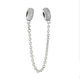 Wholesale Pandora Sparkle Beads - Topeasy 100% 925 Sterling Silver Sparkling CZ Pave Inspiration Safety Chain Beads Fit Pandora Bracelets for Women DIY Marking