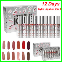 Wholesale 12 Years - New Kylie Jenner lip gloss Holiday Christmas Edition Lipstick Vault 12 Matte Lipsticks new year gift fashion item 12 Days lipgloss kit