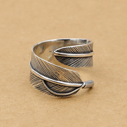 Wholesale Nice Wedding Rings For Men - 925 sterling silver fashion jewelry band ring for both men and women vintage style feather shape nice adjustable open ring for wholesale