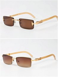 Wholesale rectangular box wood - retro buffalo horn glasses for mens original bamboo wood sunglasses for women rectangular lens half frame rimless come with glasses box