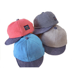 Wholesale Baby Boy Beret Hats - Summer Cotton Baby Hats Cute Casual Striped Soft Eaves Baseball Cap Baby Boy Beret Baby Girls Sun Hat 2105021