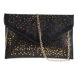 Wholesale Beige Envelope Clutch - Wholesale-Hot Sale Women Hollow Out Vintage Envelope Clutch Bag Lady Evening Purse Handbags Female Metal Chain Shoulder Bag