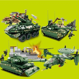 Wholesale Military Tank Toys - Children's plastic fight the building blocks of military chariot Model toys 4styles tank Armored vehicles children education toys