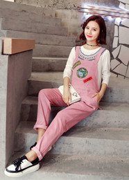 Wholesale Maternity Overalls Summer - Women's Corduroy with Zipper Overall Maternity Jumpsuit Loose Rompers Baggy Pants Pregnancy Bib panties Size L XL XXL DXM1925