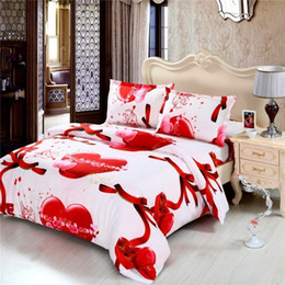 Wholesale Cheap Cotton Comforters King Size - Fashion Luxury Printed 3D Hearts Bedding Set Queen King Full Size Bed linen Bed Sheet Duvet Cover Pillow Case Cheap Bedding Sets