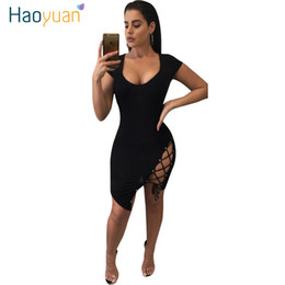 Wholesale Plus Size Sundresses - 2017 Summer Dress Woman Self Portrait Vestidos Black Short Sundress Plus Size Women Clothing Sexy Bandage Bodycon Dress 17301