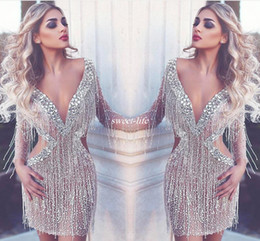 sage olive beaded long dresses Coupons - New Luxury Saudi Arabia Short Cocktail Dresses Crystals Sexy Deep V-neck Backless Illusion Long Sleeves Club Wear Party Gowns Prom Dress