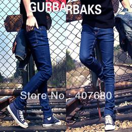 Wholesale Jeans Fashion Men Korea - Wholesale-Hot selling men's fashion Classic blue slim denim jeans all-match skinny pencil pants black,blue korea style free gift