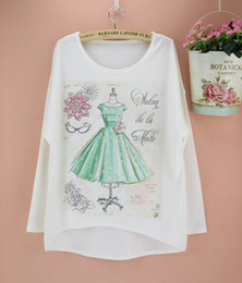 Wholesale Girls Batwing Tops - Wholesale-Discount 2014 new Spring Autumn girls T shirt women tops tees long batwing sleeve plus size clothing wholesale free shipping