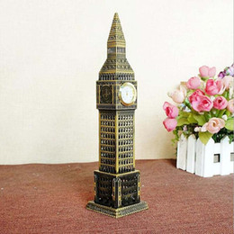 Wholesale london model - Metal Crafts London Big Ben Building Model Creative Home Crafts Decoration with clock ZJ0040