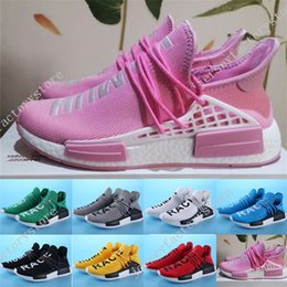 Wholesale Women Trainning Shoes - Cheap Human Race Pharrell Williams X NMD Boost Trainning Shoes Outdoors Casual Man And Women Shoes Kanye West Shoes Black Color Size 36-45