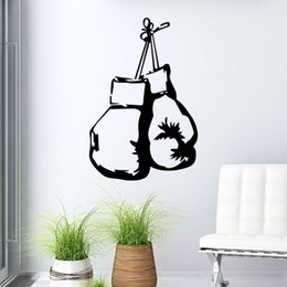 Wholesale Cheap Nursery Decorations - Cheap Boxing Handbags Sports Wall Sticker murals PVC 60*40cm Wall Decoration Decals for Boy's Room and Gymnasium free shipping