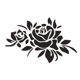 Wholesale Flower Car Stickers - 23*16CM ROSE FLOWERS Cover Car Stickers Car Decals Marks Roses Reflective Stickers