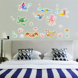 Wholesale Fishing Wall Decals - Night Luminous 3D Wall Stickers Creative Glowing Colorful Cartoon Underwater World Fish Vinyl Decals for Baby Room Wall Decor