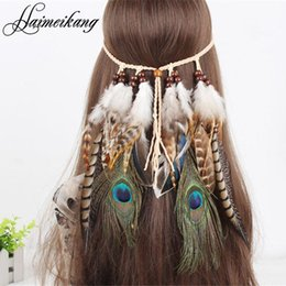 Wholesale Hair Beads For Girls - Hair Feathers Headband for Women Girl 2016 Fashion Boho Hair Accessories Indian Beads Gypsy Feather Knitted Belt Hair Band