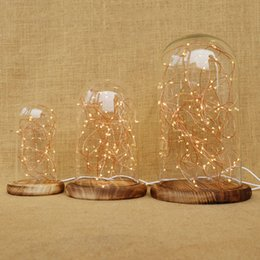 Wholesale Bell Jars - Led Nightlight, Glass Bell Jar Night Lamp with Led Copper Wire String Light for Table Bedside Display Christmas Wedding Gift