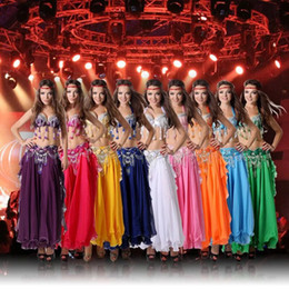 Wholesale Long Belly Dance Skirt Costume - Performance 11 Colors Women Dancewear Professional Size S-XL 3pcs Outfit Bra Belt Skirt Long Oriental Beads Costume Belly Dance