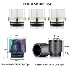 Wholesale Glass Drip Tank - Hottest Epoxy Resin Glass Carbon Fiber TFV8 drip tip for TFV8 Atomizer Tank Kooper Primus 300W Mod & H-PRIV TC Mods Vape DHL