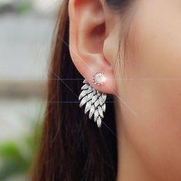 Wholesale Sharp Studs - Vintage Stereo Angel Wings Earrings Feather Mosaic Crystal Alloy Wear Sharp for Women Stud Earring Wholesale