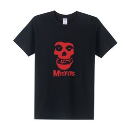 Wholesale Punk Skull Print - The MISFITS Shirts Short Sleeve HARDC0RE Punk Men T Shirt Cotton Skull Fashion Music Rock T-Shirt Free Shipping OT-320