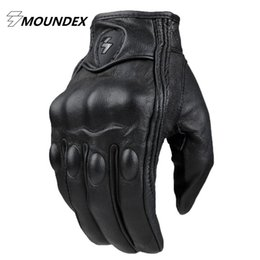 Wholesale Brown Leather Motorcycle Gloves - Top Guantes Fashion Glove real Leather Full Finger Black moto men Motorcycle Gloves Motorcycle Protective Gears Motocross Glove