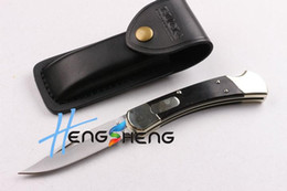 Wholesale Tactical Knife Pouch - BUK 110 KNIFE action Automatic conversion Knife Brass & Rosewood Handle 440 steel Folding blade Tactical knife knives,leath pouch