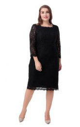 Wholesale Turtle Neck Black Lace Dress - Europe and the United States large size temperament lace dress round neck straight skirt Solid Color Dresses Plus size casual women clothes