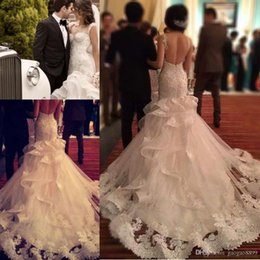Wholesale Tight Satin Wedding Dresses - Stunning fit and flare Mermaid Wedding Dresses 2017 Tight Bodice Sweetheart Ruffles Skirt Lace Train Garden Bridal Wedding Gowns