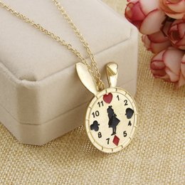 Wholesale Poker Clock - Cute Alice adventure in wonderland Alice necklace rabbit clock lovely drip Alice clock necklace poker collar choker