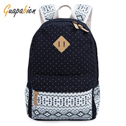 Wholesale Laptop For School Wholesale - Wholesale- Guapabien Women Men Big School Travel Backpack For Teenager Cute Dot Stripe Print Canvas Book Bags Ethnic Preppy Laptop Rucksack