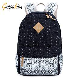Wholesale Laptop Bags For Men Wholesale - Wholesale- Guapabien Women Men Big School Travel Backpack For Teenager Cute Dot Stripe Print Canvas Book Bags Ethnic Preppy Laptop Rucksack