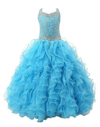 Wholesale Layers Little Girl - Hot Stock Size Bule Layer Beads Pre-Teen Party Gowns Little Girls Pageant Dress