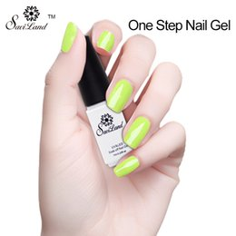 Wholesale One Step Uv Gel Polish - Wholesale- Saviland 1pcs UV Gel Nail Polish One Step 3 in 1 Esmalte Permanent Gel Nail Varnishes Lacquers 24 Colors Nail Art