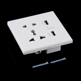Wholesale Usb Wall Plates - DHL free shipping 20PCS Wall Socket Dual 2 USB Universal Plug Switch Power Supply Plate 2100mA Charger with LED indicator