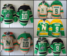Wholesale Red Star Hoody - 100% embroidery, Cheap Minnesota North Stars #9 Mike Modano,#10 sharp Old Time Hockey Sweatshirt Double stiched Hoody