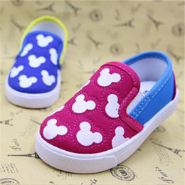 Wholesale Toddler Boy Loafer Shoes - Koovan Baby Sneakers 2017 Children's Boys Girls Baby Canvas Shoes Cartoon Mouse Soft Board Loafers First Walker Toddler Shoes For 2-4years