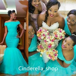 Wholesale Mint Mermaid - African Plus Size Turquoise Mint Mermaid Bridesmaid Dresses 2017 Off The Shoulder Lace Appliqued Wedding Guest Dresses Maid Of Honor Gown