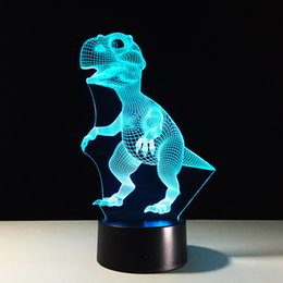 Wholesale Emergency Led Battery - 2017 Small Dinosaur 3D Illusion Night Lamp 3D Optical Lamp AA Battery DC 5V Wholesale Free Shipping