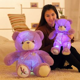 Wholesale Lavender Stuff - Wholesale- Big 50cm 75cm Lavender Bear Plush Doll Toys with Led Night Light Kawaii Purple Teddy Bear Stuffed Luminous Toys Glow in Dark