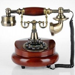 Wholesale Brass Phone - Telephone antique wood retro European fashion home phone optional rotary dial telephone