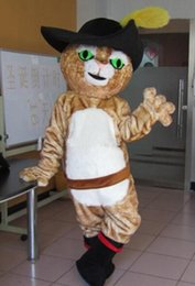 Wholesale Mascot Puss Boots - 2017 Hot new Puss in boots mascot costume adult size Puss in boots mascot costume free shipping